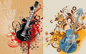 גרפיקה וקטורית להורדה: עיצוב של גיטרות חשמליות