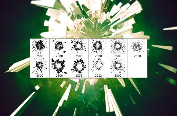 מברשות לפוטושופ של חלקיקים מתנפצים