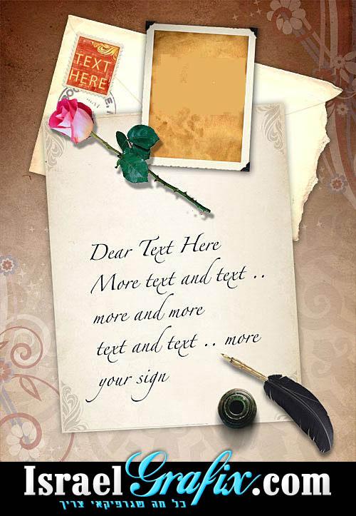 PSD של מכתב בסגנון וינטאג'