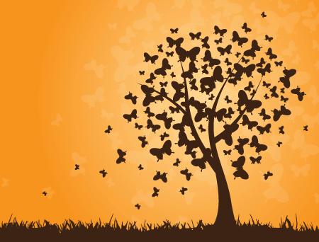 רקע בוקטור של עץ פרפרים וטבע